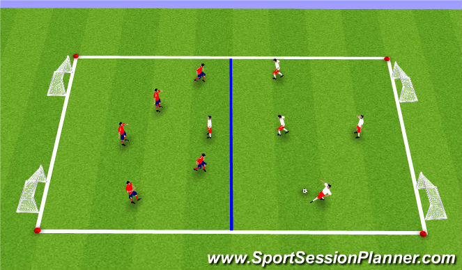 Football/Soccer Session Plan Drill (Colour): SSG to 2 Goals