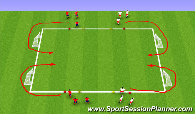 Football/Soccer Session Plan Drill (Colour): 2v2 SSG