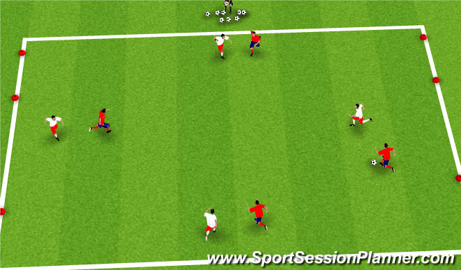 Football/Soccer Session Plan Drill (Colour): SSG -4 goal game