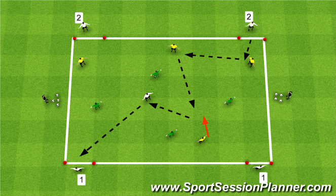 Football/Soccer Session Plan Drill (Colour): 4v4+4 to Targets