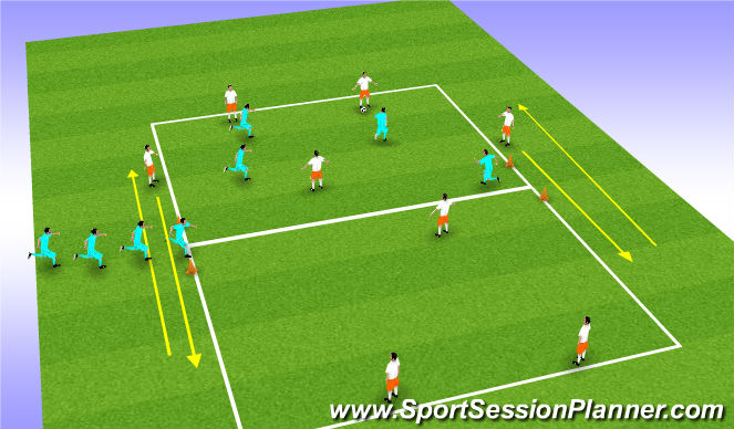 Football/Soccer Session Plan Drill (Colour): 8v4(v4)