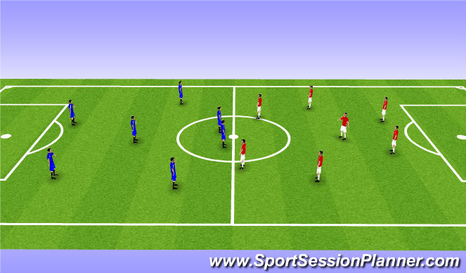 Football/Soccer Session Plan Drill (Colour): small sided game 8v8