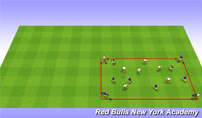 Football/Soccer Session Plan Drill (Colour): Keep away with corner targets -Expanded