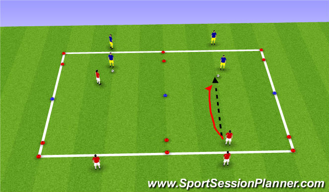 Football/Soccer Session Plan Drill (Colour): Warm up shadow defending