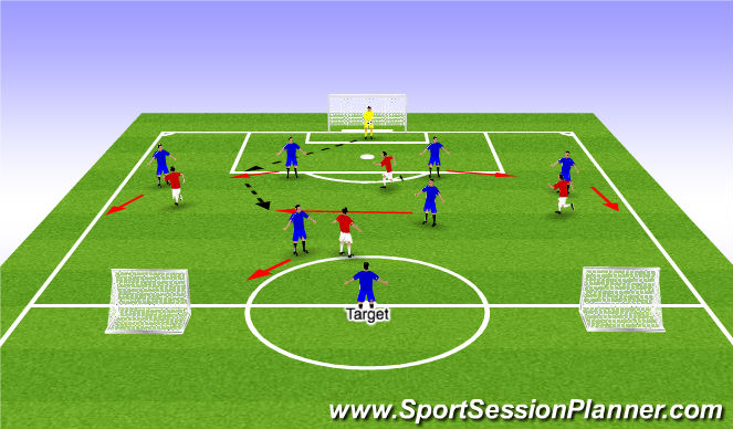 Football/Soccer Session Plan Drill (Colour): POP Eliminating 9/10