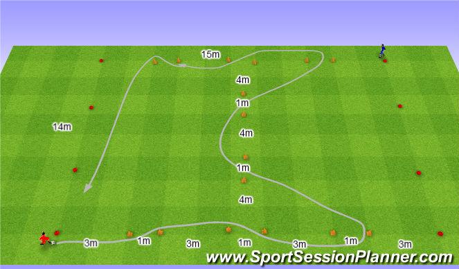 Football/Soccer Session Plan Drill (Colour): Gry w labiryncie: Prowadzenie piłki.
