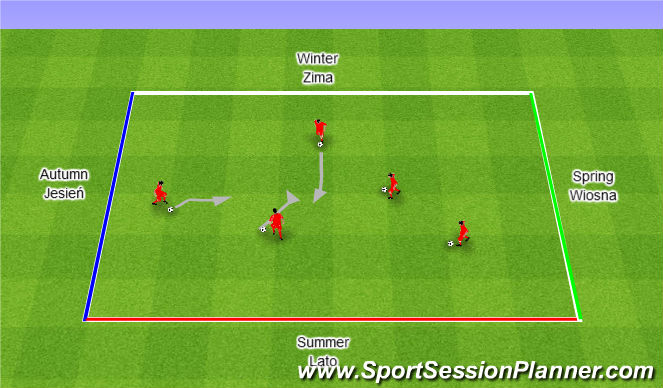 Football/Soccer Session Plan Drill (Colour): Autumn/Winter/Spring/Summer. Jesień/Zima/Wiosna/Lato.