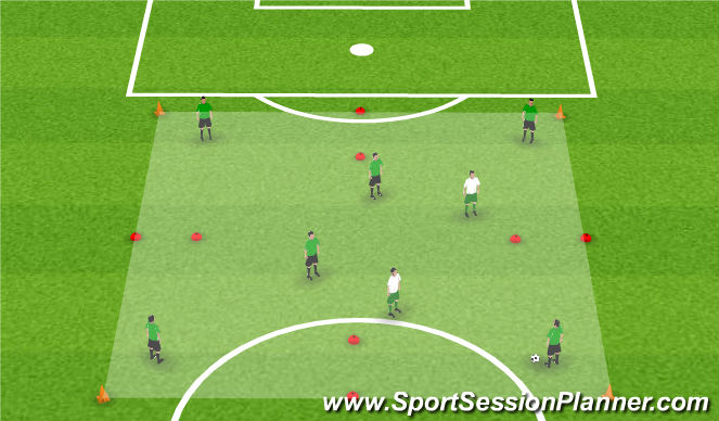 Football/Soccer Session Plan Drill (Colour): Activity 2: 6v2 Through Gates