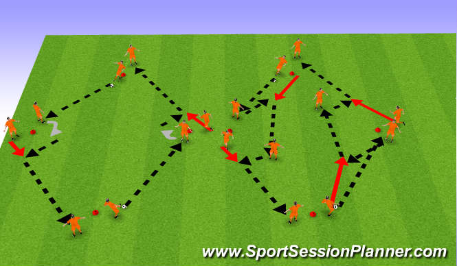 Football/Soccer Session Plan Drill (Colour): TD - Diamond Passing Drill