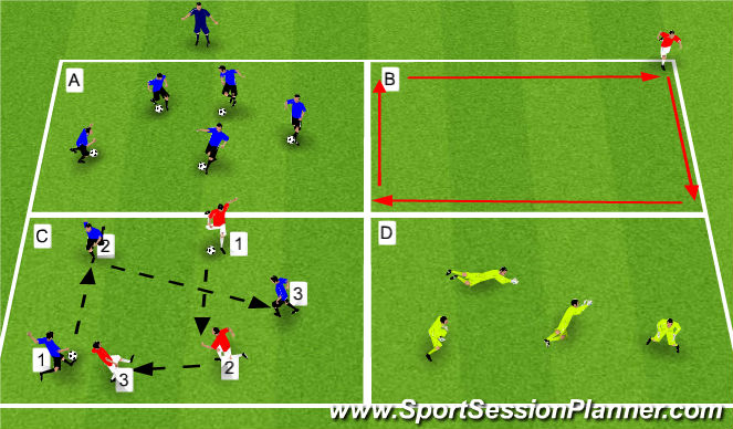 Football/Soccer Session Plan Drill (Colour): Drill #1 - Fitness/Touches