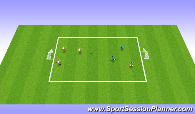 Football/Soccer Session Plan Drill (Colour): 3 v 3 (or 4 v 4)
