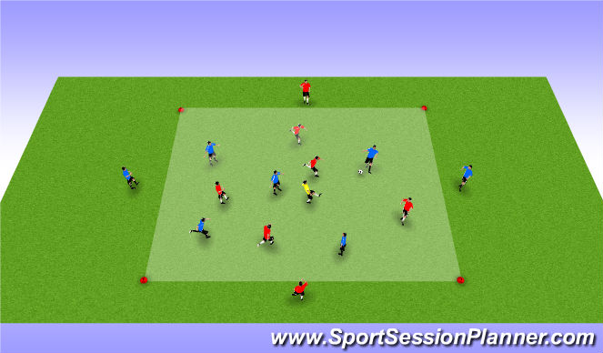 Football/Soccer Session Plan Drill (Colour): 5v5+1 to Targets bi-directional