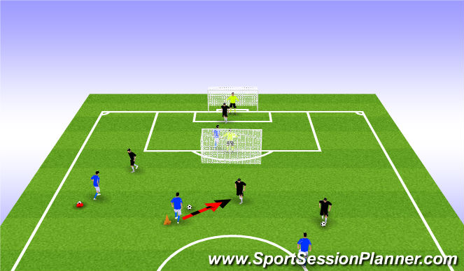 Football/Soccer Session Plan Drill (Colour): 1v1 to Cone