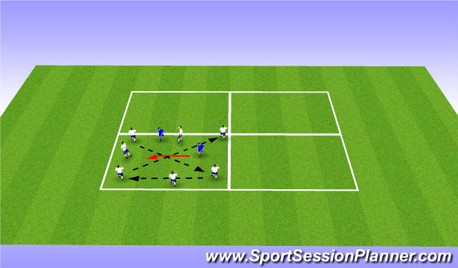 Football/Soccer Session Plan Drill (Colour): 8v2 Rondo