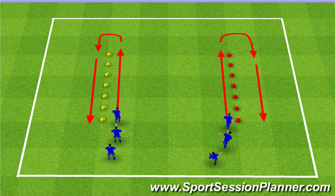 Football/Soccer Session Plan Drill (Colour): Warm up - Dynamic movements