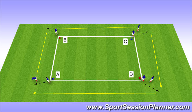 Football/Soccer Session Plan Drill (Colour): Square Sequence
