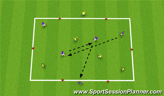 Football/Soccer Session Plan Drill (Colour): 2v2+3 Rondo