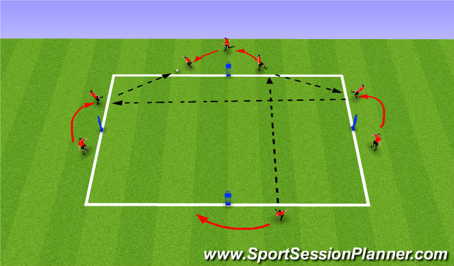 Football/Soccer Session Plan Drill (Colour): 4V0: Movement off ball to create good passing angles