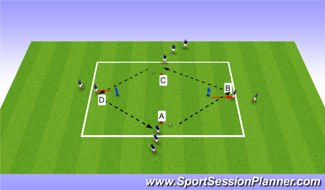 Football/Soccer Session Plan Drill (Colour): Passing - Technical practise