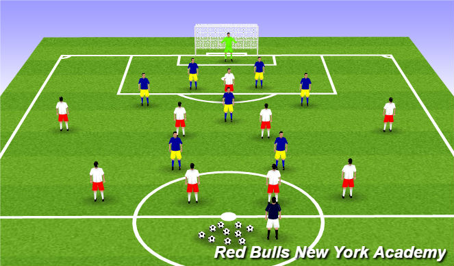 Football/Soccer Session Plan Drill (Colour): Expanded game - 9v7+GK
