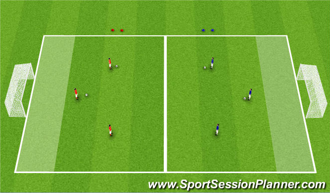 Football/Soccer Session Plan Drill (Colour): 3v3 - SSG
