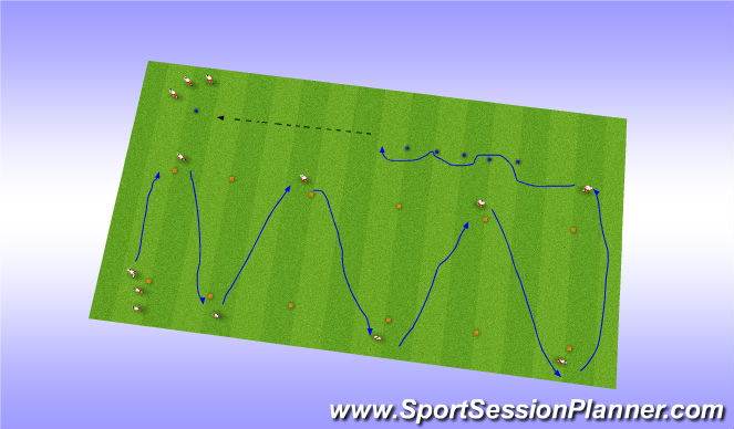 Football/Soccer Session Plan Drill (Colour): Dribble and Stop