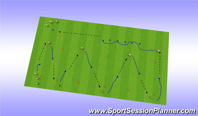 Football/Soccer Session Plan Drill (Colour): Dribble to Pass