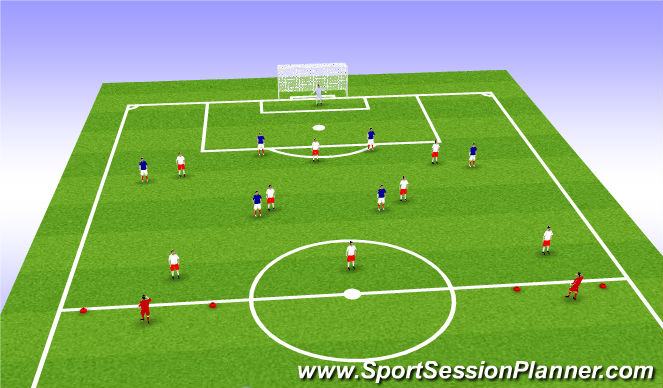 Football/Soccer Session Plan Drill (Colour): half field defense vs attack