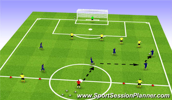 Football/Soccer Session Plan Drill (Colour): SSG : 6v4+2