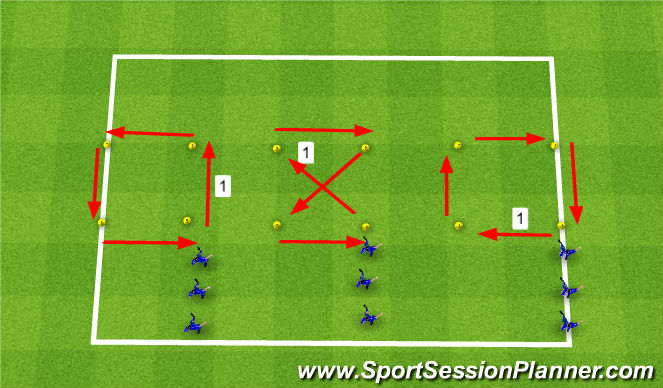 Football/Soccer Session Plan Drill (Colour): Warm up - Speed work without a ball