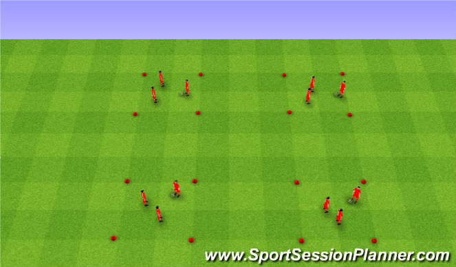 Football/Soccer Session Plan Drill (Colour): 4 corners warm up I. Rozgrzewka cztery rogi I
