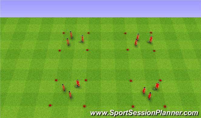 Football/Soccer Session Plan Drill (Colour): 4 corners warm up I. Rozgrzewka cztery rogi I