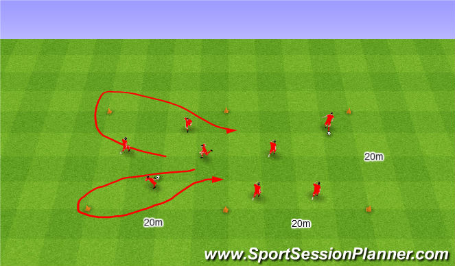 Football/Soccer Session Plan Drill (Colour): Two grids together. Dwa pola razem.