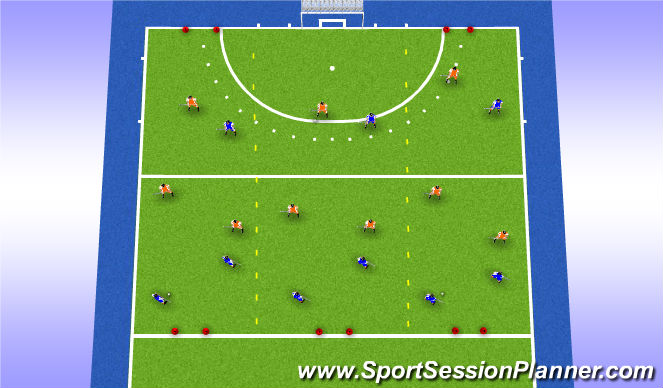 Hockey Session Plan Drill (Colour): Turnover game 3v3