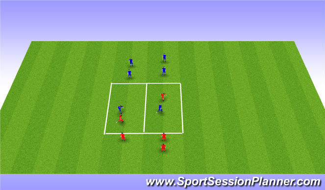 Football/Soccer Session Plan Drill (Colour): 1v1 without ball