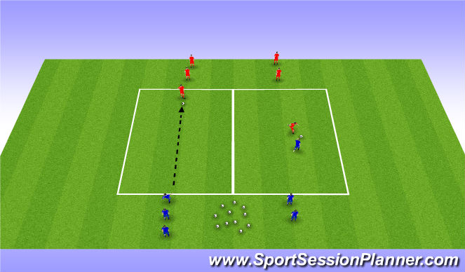 Football/Soccer Session Plan Drill (Colour): 1v1 with ball