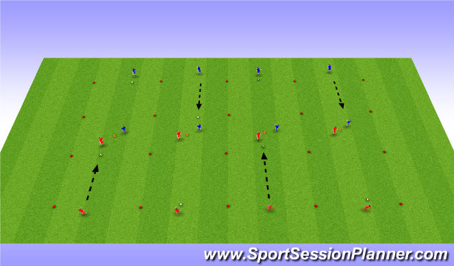 Football/Soccer Session Plan Drill (Colour): Turning channels