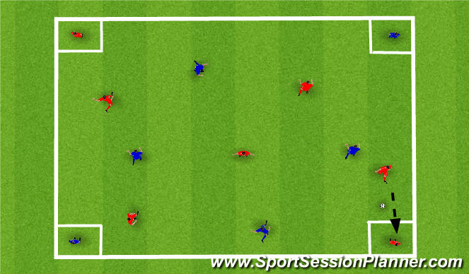 Football/Soccer Session Plan Drill (Colour): Passing as a team