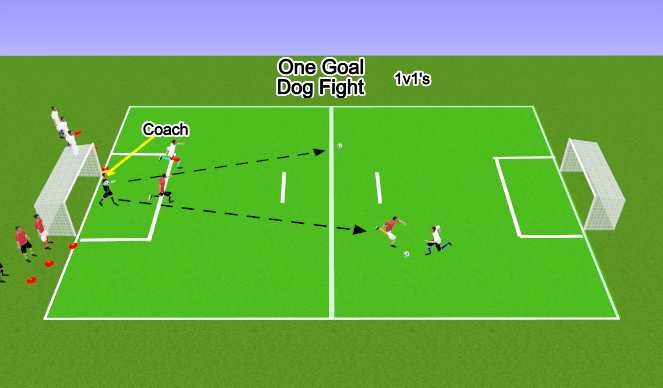 Football/Soccer Session Plan Drill (Colour): One Goal Dog Fight