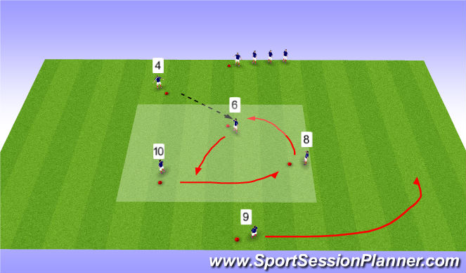 Football/Soccer Session Plan Drill (Colour): Passing Exercise - Progression
