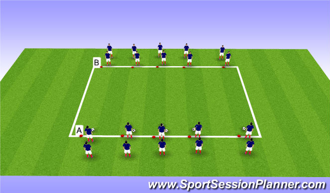 Football/Soccer Session Plan Drill (Colour): Warm Up - Passing and Dynamics
