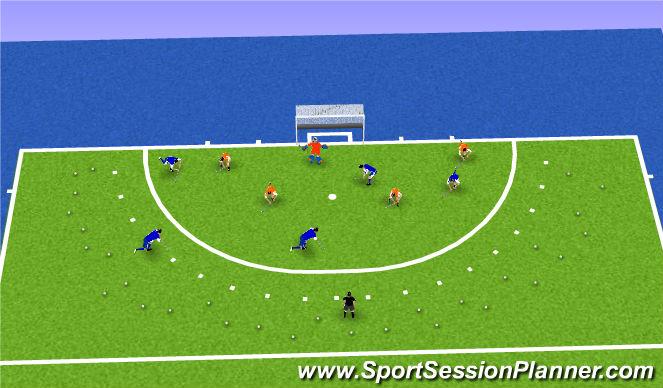 Hockey Session Plan Drill (Colour): Cirkelverdediging in ondertal