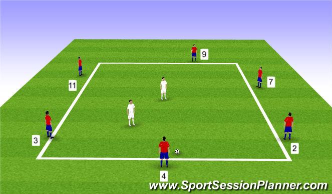 Football/Soccer Session Plan Drill (Colour): 6v2