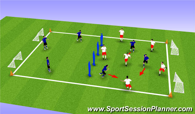 Football/Soccer Session Plan Drill (Colour): Defensive pressing and attacking transition