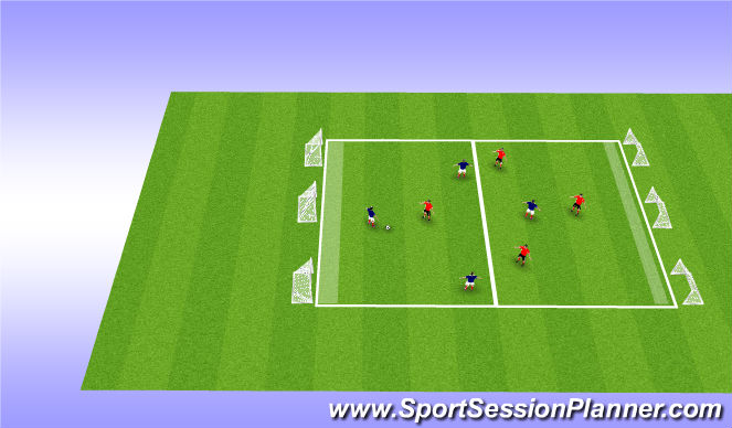 Football/Soccer Session Plan Drill (Colour): 4v4 Six Goal Game