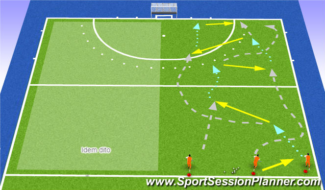 Hockey Session Plan Drill (Colour): Vlechten in 3-tal formatie