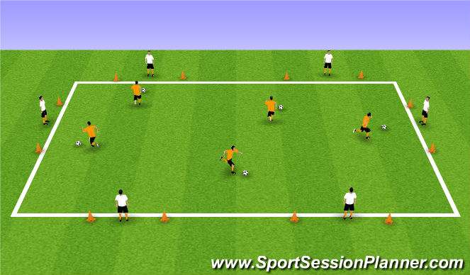 Football/Soccer Session Plan Drill (Colour): Dribbling with confidence