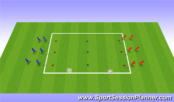 Football/Soccer Session Plan Drill (Colour): 1 v 1 moves