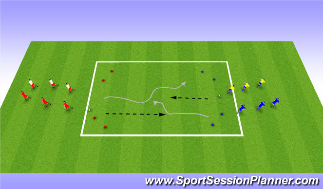 Football/Soccer Session Plan Drill (Colour): 1 v 1 to 3 v 3
