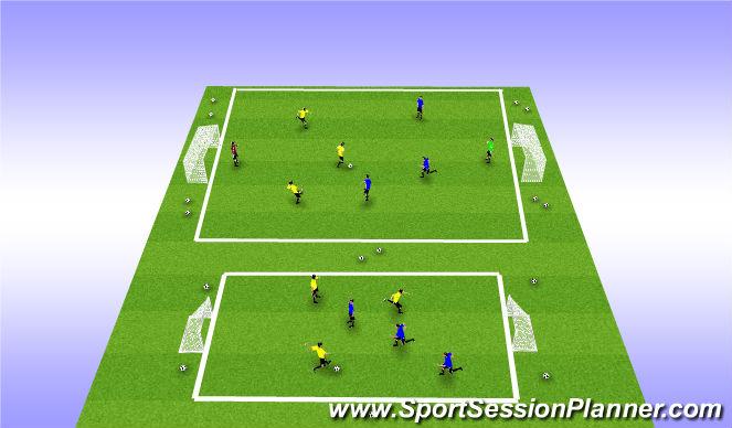 Football/Soccer Session Plan Drill (Colour): 4v4 Play